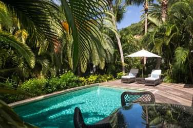 La piscine privée de la Suite Tropicale nichée au coeur d'un jardin luxuriant