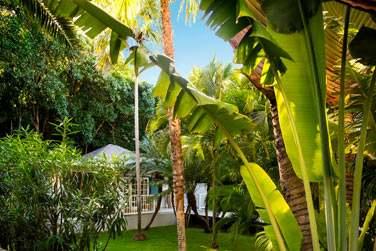 Vue extérieure du bungalow Jardin