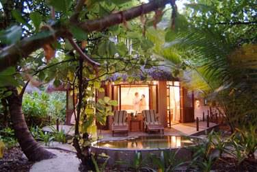 L'espace extérieur de la Deluxe Villa avec terrasse aménagée enfouie dans la végétation tropicale