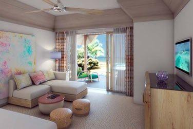 Les 80 villas de l'hôtel sont réparties sur la plage et sur le lagon.