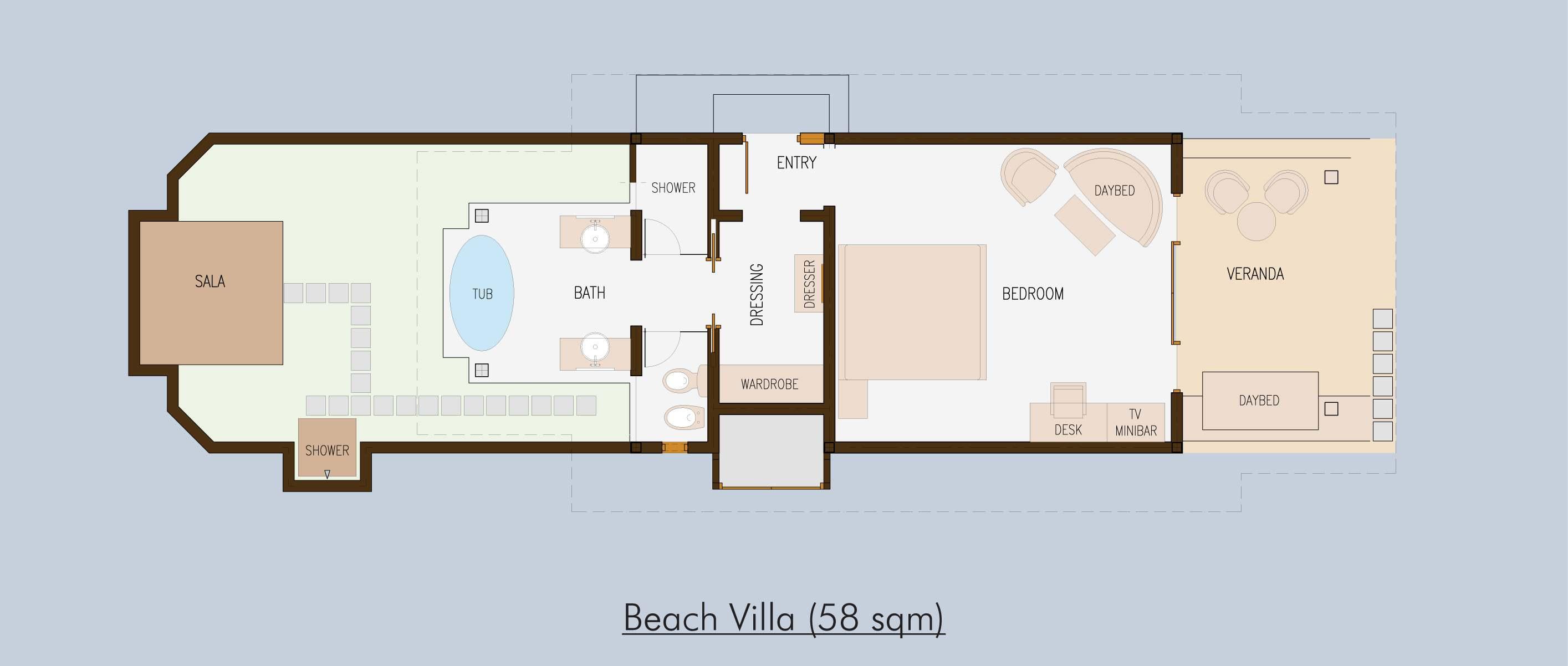 H tel olhuveli beach spa resort maldives for Beach villa plans