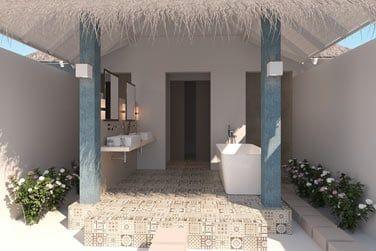Et sa splendide salle de bain à à ciel ouvert.