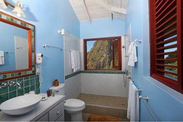 La salle de bain de la suite gros Piton avec piscine
