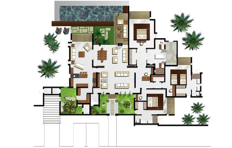 Anahita the resort ile maurice for Villa moderne plan