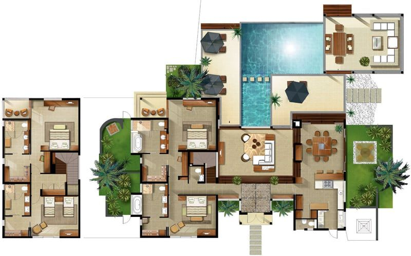 Awesome plan de maison luxe with plan de maison avec piscine