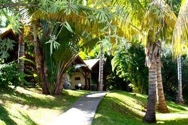 Les bungalows sont disséminés au cœur du jardin tropical