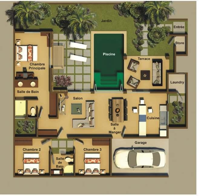 Villas ath na 1 4 chambres ile maurice - Plan d une chambre ...