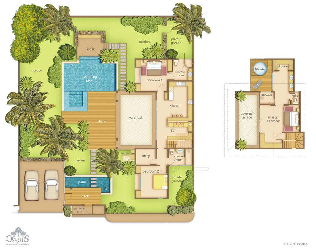 Villas oasis 1 3 chambres ile maurice for Plans de villa