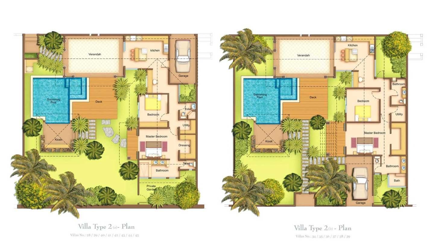 Villas oasis 1 3 chambres ile maurice for Plan villa en l