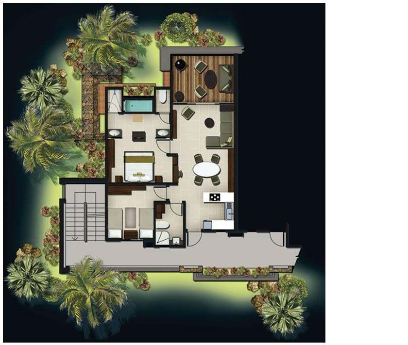 Domaine des aliz es club spa appartements 1 3 for Plan appartement 1 chambre