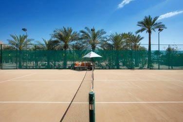 Tennis entouré par les palmiers