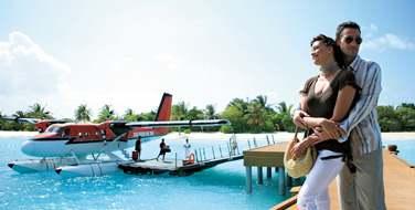 Après un transfert en hydravion depuis l'aéroport de Malé...