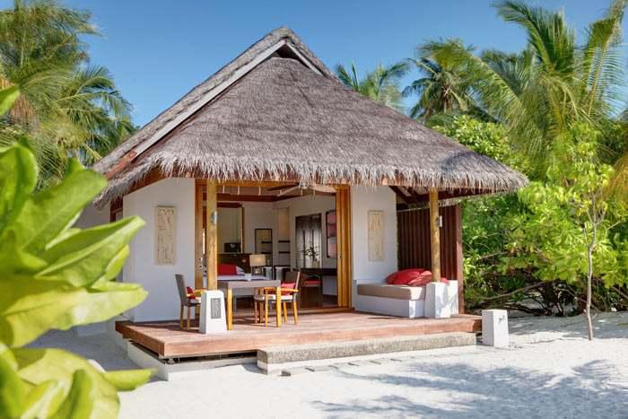 Extérieur de la Villa Plage au toit de chaume et entourée de végétation luxuriante