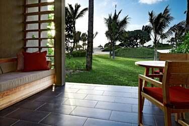 La terrasse de la chambre Supérieure front de mer