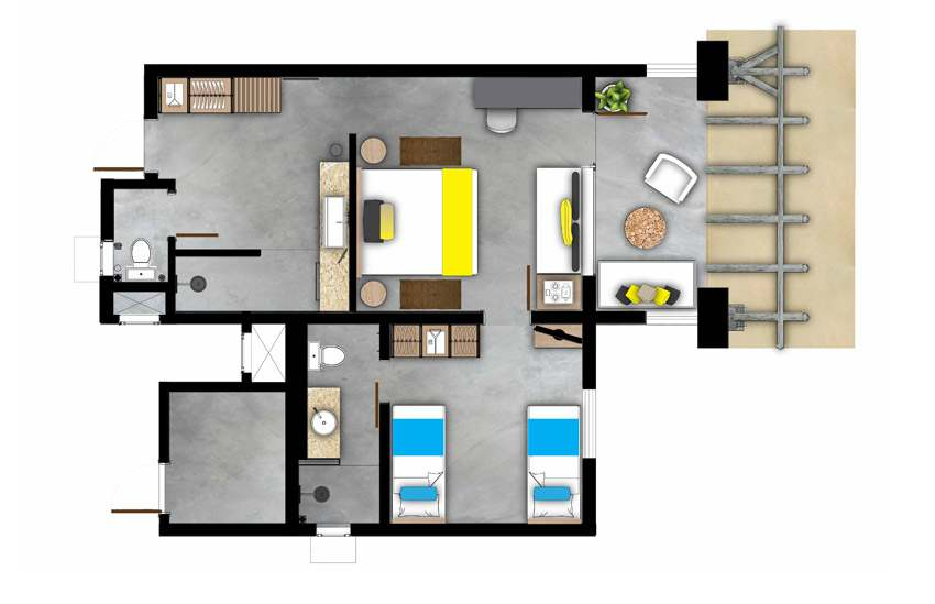 H tel zilwa attitude ile maurice - Plan d une chambre d hotel ...