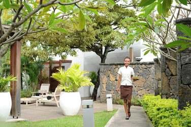 Les jardins de la réception de l'hôtel Récif Attitude