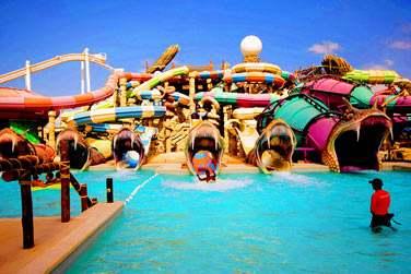 Pour une journée sous le signe du divertissement, rendez-vous au parc aquatique Yas Waterworld !