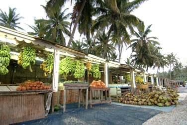 Rendez-vous dans les marchés typiques pour trouver des tas de fruits tropicaux