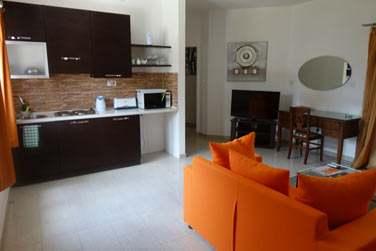 Le salon et la cuisine de l'appartement 2 chambres