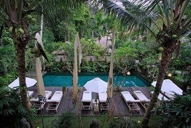 Installez-vous confortablement sur un transat au bord de la piscine, posée au beau milieu d'un magnifique jardin luxuriant!
