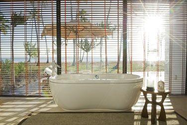 La salle de bain, spacieuse et luxueuse avec sa baignoire sur pied