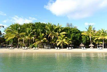 La plage de l'hôtel, bordée par une végétation dense