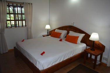 La chambre principale avec un grand lit