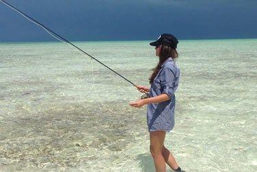 ...idéale pour la pêche aux bonefish, sport très apprécié par les bahaméens !