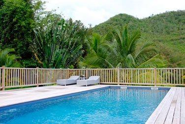 La pisicne commune du Domaine entourée par une végétation dense et luxuriante
