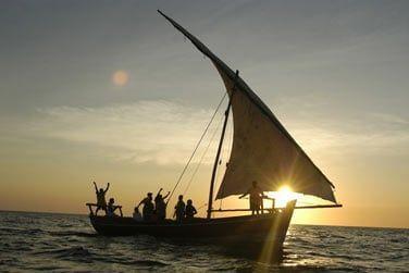 à bord d'un traditionnel 'dhow'