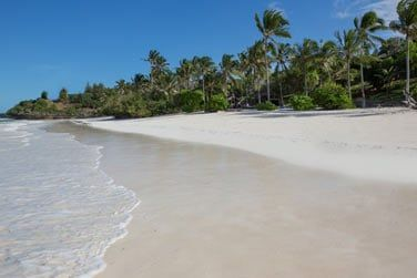 Situé le long d'une belle plage de sable blanc...