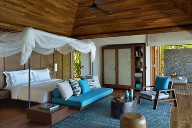 Confortable et joliment décorée avec ces nuances de bleus