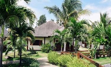 Les bungalows sont disséminés dans le jardin tropical de l'hôtel