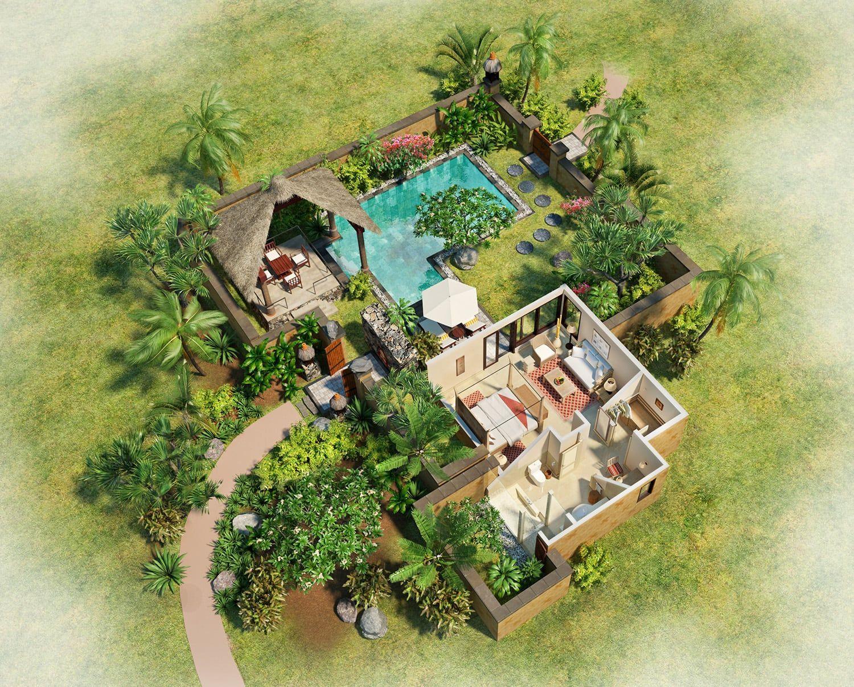H tel the oberoi mauritius ile maurice for Plan de villa de luxe