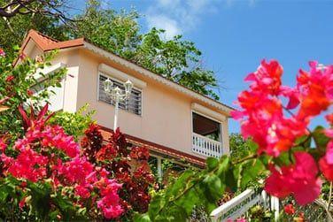 Les bungalows créoles se fondent harmonieusement avec cette nature environnante