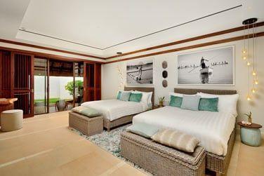 Chambre avec lits jumeaux de la Villa Plage