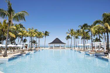 La piscine bordée par les palmiers