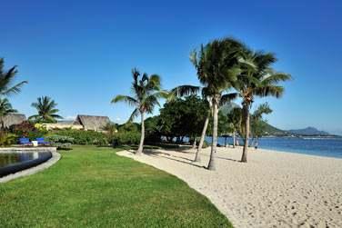 La plage de l'hôtel bordée par les jardins tropicaux